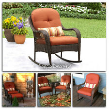 Rocking Chair Resin Wicker Outdoor Brown Patio Furniture Porch Rocker w/ Cushion