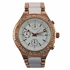 MWG MENS WRIST BAND WATCH GOLD/WEISS RHINESTONE BLING HIP HOP METAL