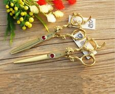 "6""Professional Hairdressing Cutting Thinning Scissors Shears Barber Gold Set"