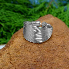 Sterling Silver Multi-Layered Flexible Cuff Ring