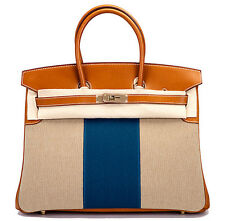 HERMES BIRKIN 35 FLAG BARENIA TOILE PERMABRASS HARDWARE PURSE