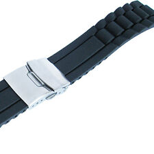 22mm deBeer 964 Mens Black Silicone Rubber Deployant Dive Watch Band Strap