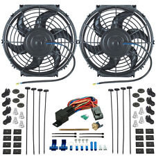 "TWIN 10"" INCH ELECTRIC RADIATOR COOLING FANS PUSH-IN FIN PROBE THERMOSTAT SWITCH"