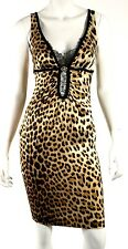ROBERTO CAVALLI Leopard Print Satin & Lace Sleeveless Cocktail Dress 40