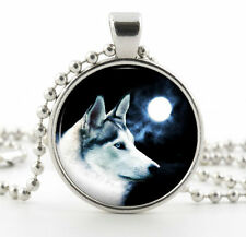 Silver Arctic Wolf Pendant Necklace - Full Moon White Dog Photo Pendant Art Gift