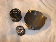 Pewter Cigarette Lighter, Ashtray and Holder Set by Rio of Holland