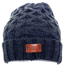 Aran Traditions Womans Ladies Winter Warm Knitted Style Navy Blue Beanie Hat