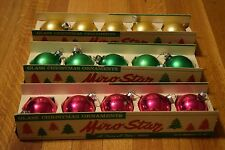 Vintage Miro-Star Christmas Glass Ball Ornaments 15 in Mid-Century Boxes Delta