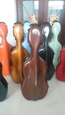 one high quality  fiberglass cello case /wheells 4/4 ,Coffee  cello case