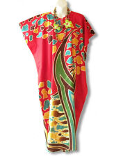 Red Abstract Dolman Batik Kaftan Tunic Hippy Abaya Long Dress - S, M, L & XL