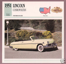 1951 Lincoln Cosmopolitan Convertible Car Photo Spec Sheet Info Stat French Card