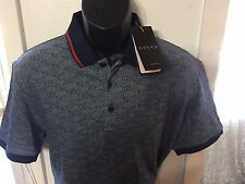 Brand New Gucci, Polo T-shirt, 100 % Cotton, Gray And Blue, Medium
