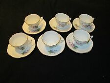 Vintage BONE CHINA 12PC TEA CUP SET England LAVENDER FLOWERS~NICE