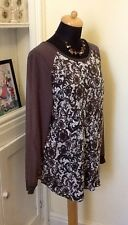 NEXT Size 18 Long Sleeve Semi Sheer Lace Look Top In Excellent Condition