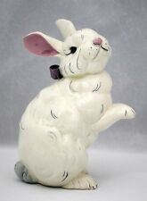 Kay Finch 8 inch Easter Bunny Rabbit Figurine White with Purple Bow