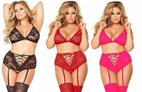 Sexy Plus Size Bra Suspender Set Lace Lingerie Nightwear Red Black Pink UK 20-28
