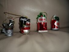 set of 4 Coca-Cola Coke Mini Glass Blown Ornaments Snowman Seal bottle machine