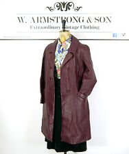 Women's Vintage 70's Plum Purple GENUINE LEATHER Double Breasted Trench Coat 12