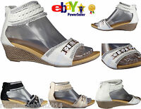 LADIES GIRLS WOMENS STRAPPY GLADIATOR FLOWER DAIMENTE CASUAL WEDGE SANDALS SIZE