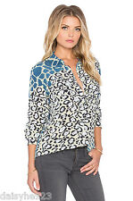 NEW $258 EQUIPMENT SIGNATURE LEOPARD COLORBLOCK PRINTS WASHED SILK BLOUSE BLUE S