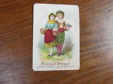 (PC) grand CHROMO RELIEF (gaufré) du CHOCOLAT POULAIN TRADE CARD ANGLES RONDS