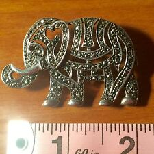 Sterling Silver Marcasite Elephant Pin