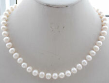 s57 14K Solid gold 8-9mm Natural White Akoya Cultured Pearl Beads Necklace 18''