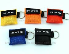 100 pcs/pack CPR MASK KEYCHAIN WITH CPR FACE SHIELD AED CPR LIE KEY 5 COLORS