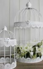 WEDDING CHRISTENING DAY WHITE METAL BIRDCAGE SET OF 3 TABLE PARTY DECORATION