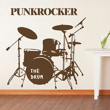 Modern Drum Set Vinyl Art Wall Sticker Stylish Punkrock Decal Home Mural Decor