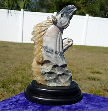 Horse Mare Colt Natural Calcite Marble Twin Statue Crystal Volcanic Base Carving