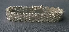 Outstanding quality solid 925 Sterling silver diamond cut Panther bracelet 7""