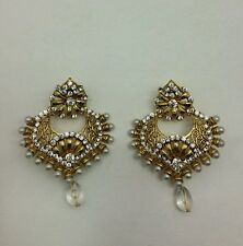New Bollywood Elegant Indian Earrings costume  Vintage in gold/pearl jewellery