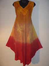 Dress Fits 1X 2X 3X Plus Long Tunic Gold Copper Feather Print A Shape NWT 140