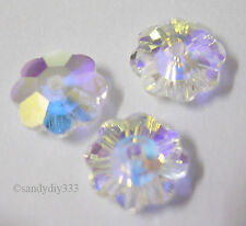 6x SWAROVSKI 3700 CLEAR CRYSTAL AB MARGARITA 10mm FLOWER SPACER BEAD (Unfoiled)