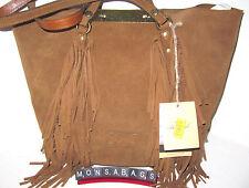 Patricia Nash Boho Benvenuto Italian Leather Tan Suede Fringe Tote Bag NWT $249