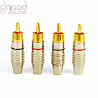 4 x Gold Plated RCA Phono Plugs For Audio / Video Cable Solder Connectors