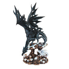 Black Dragon and Baby Dragon on Snowing Cliff Perching Statue Figurine Sculpture