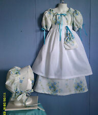Civil war, victorian, prairie, 4 pc girls dress set. White&blue floral size 5/6