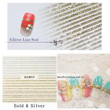 1 Blatt Nagelsticker Gold & Silber 3D Nail Art Ultrathin Lines Tips
