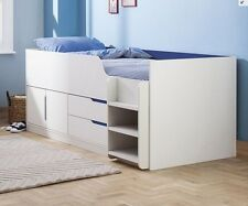 White Girls Pink Boys Blue 3ft Kids Childs Cabin Mid Sleeper Storage Single Bed