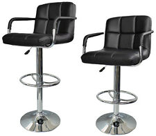 2x Modern Adjustable Swivel Bar Stool PU Leather Hydraulic BarStool w/Arm Black