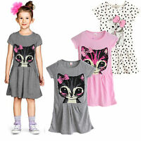 Baby Kids Girls Cat Printed T-Shirt Shift Pleated Dress Summer Clothes Tops 2-7Y