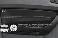 WHITE STITCH 2X FRONT DOOR CARD TRIM LEATHER COVER FITS FORD RANGER 2012-2016
