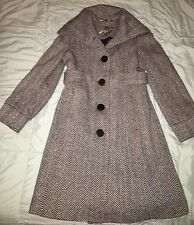 Guess Black And White Herringbone Wool Blend Coat Medium