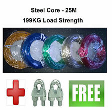 25 M Washing Line + 2 Metal Clamps - Steel Core - 199 kg Load - Clothes Line