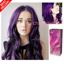 BERINA NO. A6 COLOR HAIR CREAM PURPLE COLOR SUPER PERMANENT HAIR DYE PUNK...+