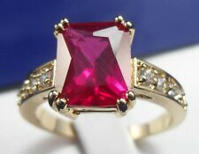 Noble 3.58ct Ruby&White Diamonique Wedding Engagement 14k Y/ Gold Filled Ring 8#