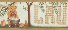 Wallpaper Border Country Teddy Bear Laundry Time