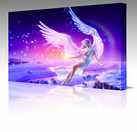Large 30 Inch Fantasy Pink Angel Wings Fantasy Framed Canvas Art Picture Print